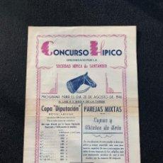 Coleccionismo deportivo: CONCURSO HIPICO - SOCIEDAD HIPICA DE SANTANDER - 1946 - CABALLOS. Lote 205669246