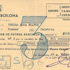 Coleccionismo deportivo: FC BARCELONA. 2 ABONOS 3 TEMPORADAS. AÑO 1956.. Lote 205672390