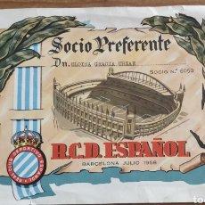 Coleccionismo deportivo: DIPLOMA SOCIO PREFERENTE 1958 RCD ESPAÑOL. Lote 205679086