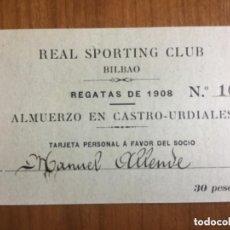 Coleccionismo deportivo: REAL SPORTING CLUB BILBAO - REGATAS DE 1908 - ALMUERZO EN CASTRO-URDIALES. Lote 205777815