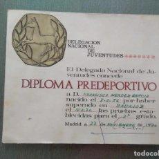 Coleccionismo deportivo: ANTIGUO DIPLOMA PREDEPORTIVO - DELEGACION NACIONAL DE JUVENTUDES. Lote 205778115