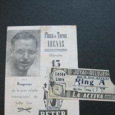 Coleccionismo deportivo: LUCHA LIBRE-BARCELONA-PLAZA TOROS ARENAS-ENTRADA + PROGRAMA ANTIGUO-JUNIO 1951-VER FOTOS-(V-20.714). Lote 208587621