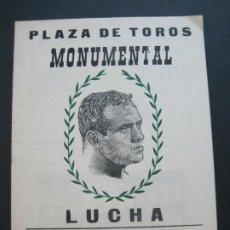 Coleccionismo deportivo: LUCHA LIBRE-BARCELONA-PLAZA TOROS MONUMENTAL-PROGRAMA ANTIGUO-JUNIO 1961-VER FOTOS-(V-20.717). Lote 208588142