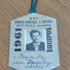 Coleccionismo deportivo: TARGETA DE IDENTIDAD XVI VUELTA CICLISTA A ESPAÑA GRAN PREMIO FIRESTONE 1961 EQUIPO FERRYS. Lote 209333791