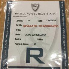 Coleccionismo deportivo: ACREDITACIÓN PRENSA (SEVILLA - FC BARCELONA) 2002/03 -. Lote 210143312