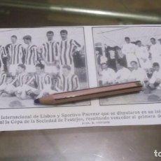 Coleccionismo deportivo: RECORTE AÑO 1909 - BADAJOZ . FUTBOL , CLUBS INTERNACIONAL DE LISBOA Y SPORTIVO PACENSE. Lote 210475716