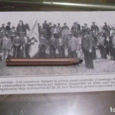 Coleccionismo deportivo: RECORTE AÑO 1909 - VILASAR DE MAR (BARCELONA) LOS SOMATENES DURANTE LA REVISTA ANUAL. Lote 210478088