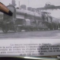 Coleccionismo deportivo: RECORTE AÑO 1909 - RENFE LA MAYOR LOCOMOTORA ESPAÑA COMPAÑIA DEL NORTE ,DE MADRID Á ÁVILA Y SEGOVIA. Lote 210518240