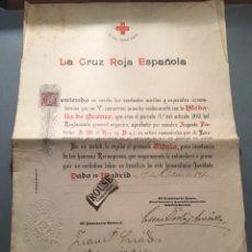 Coleccionismo deportivo: CICLISMO / CRUZ ROJA - TITULO , MEDALLA DE BRONCE CONCEDIDO AL CICLISTA TEODORO SOUM 1910. Lote 212393658