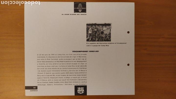 Coleccionismo deportivo: LÁMINA TRICAMPEONES (1992/93) DE LA COLECCIÓN EL GRAN LIBRO DEL BARÇA DE LA VANGUARDIA. FC BARCELONA - Foto 2 - 213122635