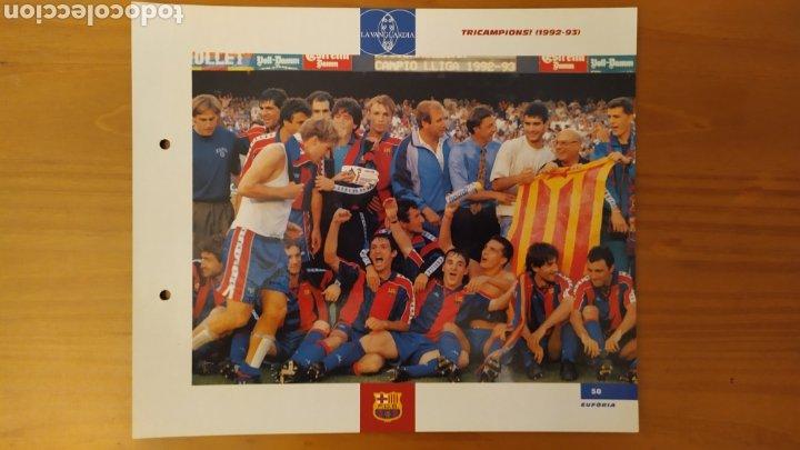 LÁMINA TRICAMPEONES (1992/93) DE LA COLECCIÓN EL GRAN LIBRO DEL BARÇA DE LA VANGUARDIA. FC BARCELONA (Coleccionismo Deportivo - Documentos de Deportes - Otros)
