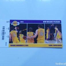 Coleccionismo deportivo: NBA ENTRADA ORIGINAL LOS ANGELES LAKERS VS NEW ORLEANS 2013 CON PAU GASOL Y CON KOBE BRYANT. Lote 213346510