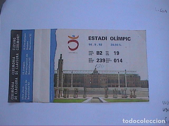 Coleccionismo deportivo: LOTE DE 2 ENTRADAS OLIMPIADAS BARCELONA 92. CEREMONIA CLAUSURA JUEGOS PARALIMPICOS Y PELOTA VASCA. - Foto 2 - 216666395