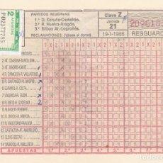 Collectionnisme sportif: RESGUARDO DE QUINIELA DE FUTBOL - SELLO 2 APUESTAS - JORNADA 21: 19-1-1986. Lote 218050357