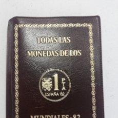 Coleccionismo deportivo: CARTERA PESETAS ESPAÑA 1980 1981 1982 FNMT TODAS LAS MONEDAS MUNDIAL 1982 JUAN CARLOS I PROOF. Lote 218969451