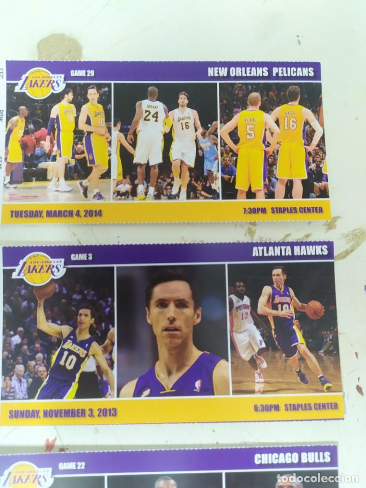Coleccionismo deportivo: 5 tickes de entrada para los ángeles lakers kobi Brian gasol usa enteros baloncesto - Foto 2 - 221086442