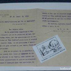 Coleccionismo deportivo: FC BARCELONA 1914 - CARTA FIRMADA ORIGINAL POR HANS GAMPER, ESPECTACULAR DOCUMENTO ORIGINAL. Lote 221252608