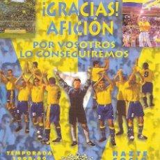 Coleccionismo deportivo: CARTEL PEQUEÑO ABONADOS CÁDIZ CF 98/99. Lote 221678560