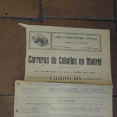 Coleccionismo deportivo: CARTELITO PROGRAMA OFICIAL CARRERAS DE CABALLOS HIPÓDROMO DE MADRID 1928 PREMIO CIMERA, TORRE ARIAS,. Lote 221940982