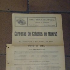 Coleccionismo deportivo: CARTELITO PROGRAMA OFICIAL CARRERAS DE CABALLOS HIPÓDROMO DE MADRID 1928 PREMIO LARRIKIN, NOUVEL AN,. Lote 221941266