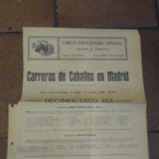 Coleccionismo deportivo: CARTELITO PROGRAMA OFICIAL CARRERAS DE CABALLOS HIPÓDROMO DE MADRID 1928 PREMIO PRESTIGE, ANTONIO. Lote 221941808