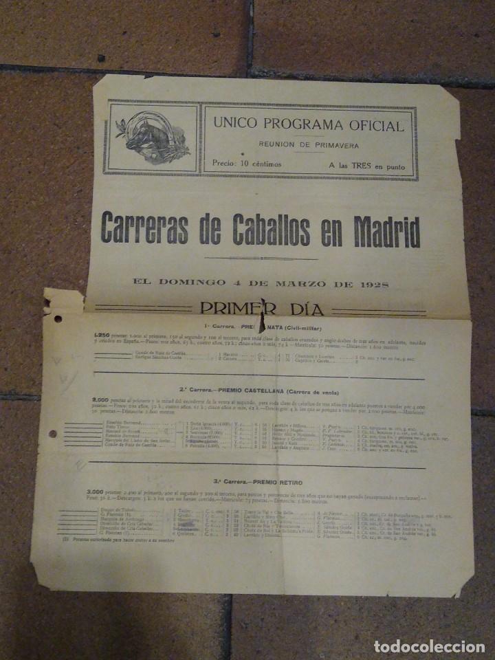 CARTELITO PROGRAMA OFICIAL CARRERAS DE CABALLOS HIPÓDROMO DE MADRID 1928 PREMIO CHURI, RECOLETOS (Coleccionismo Deportivo - Documentos de Deportes - Otros)