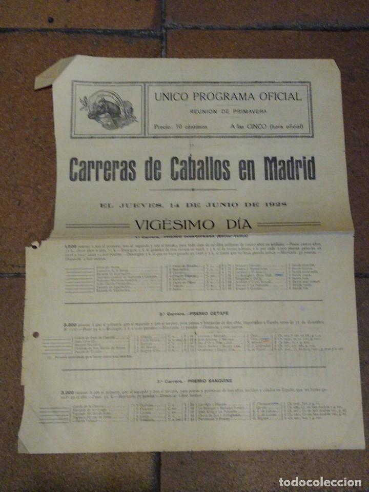 CARTELITO PROGRAMA OFICIAL CARRERAS DE CABALLOS HIPÓDROMO DE MADRID 1928 PREMIO SANGUINE, KARNAK, (Coleccionismo Deportivo - Documentos de Deportes - Otros)