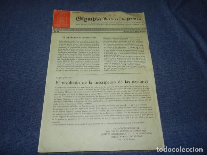 Coleccionismo deportivo: (M) INCREIBLE DOCUMENTACIÓN XI JUEGOS OLIMPICOS DE BERLIN 1936 (ORIGINAL) OLYMPIADE BERLIN - Foto 28 - 223326691
