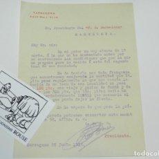 Coleccionismo deportivo: DOCUMENTO GIMNASTIC DE TARRAGONA - TARRAGONA FOOT-BALL CLUB 1914 FIRMADO FC BARCELONA. Lote 223441707