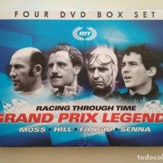 Coleccionismo deportivo: CAJA CON 4 DVD'S DE AUTOMOVILISMO FORMULA 1 GRAND PRIX LEGENDS: MOSS - HILL - FANGIO - SENNA. Lote 223790393