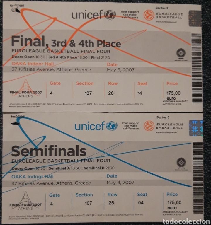 ENTRADA SEMIFINALES Y FINAL EUROLIGA EN ATENAS 2007 (Coleccionismo Deportivo - Documentos de Deportes - Otros)