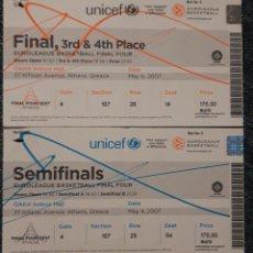 Coleccionismo deportivo: ENTRADA SEMIFINALES Y FINAL EUROLIGA EN ATENAS 2007. Lote 224019465