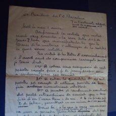 Colecionismo desportivo: (VP-85B)CARTA MANUSCRISTA DE SAMITIER AL F.C.BARCELONA RENUNCIADO A UNOS INGRESOS A FAVOR DE V.PIERA. Lote 225030681