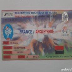Coleccionismo deportivo: ANTIGUA ENTRADA RUGBY FRANCIA INGLATERRA PARQUE DE LOS PRINCIPES PARIS ENERO 1996. Lote 225834650