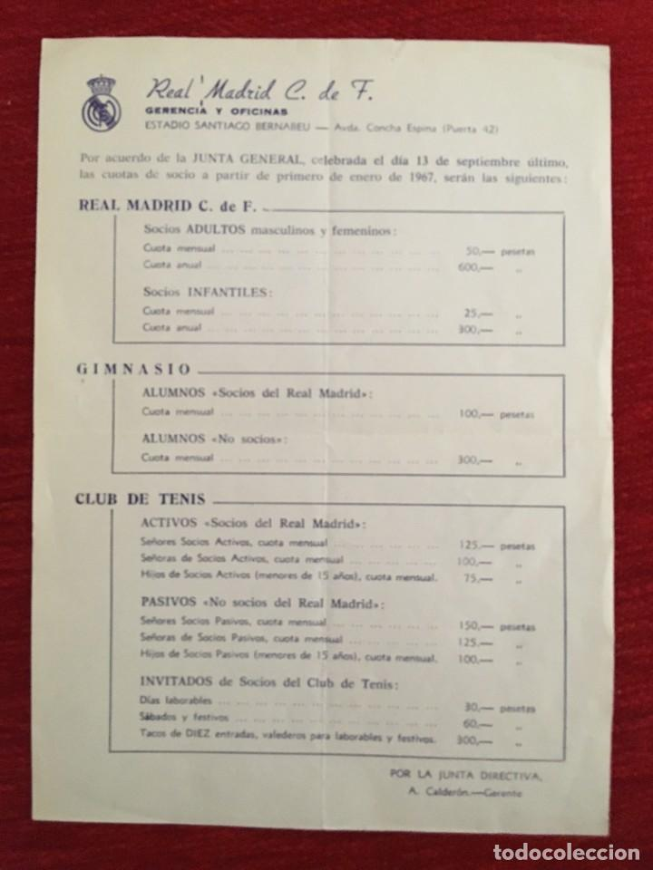 R10899 DOCUMENTO REAL MADRID CUOTAS DE SOCIO GIMNASIO CLUB DE TENIS 1967 (Coleccionismo Deportivo - Documentos de Deportes - Otros)