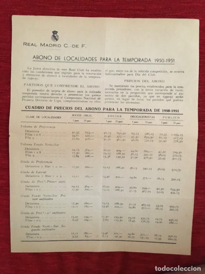 R10914 DOCUMENTO HOJA INFORMATIVA OFICIAL REAL MADRID SOCIOS ABONO TEMPORADA 1950 1951 (Coleccionismo Deportivo - Documentos de Deportes - Otros)