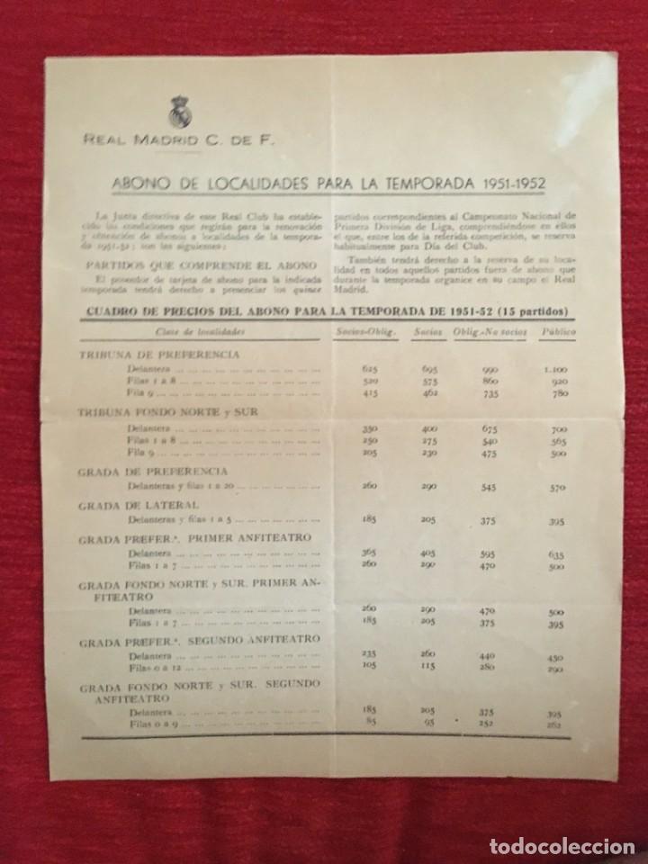 R10915 DOCUMENTO HOJA INFORMATIVA OFICIAL REAL MADRID SOCIOS ABONO TEMPORADA 1951 1952 (Coleccionismo Deportivo - Documentos de Deportes - Otros)