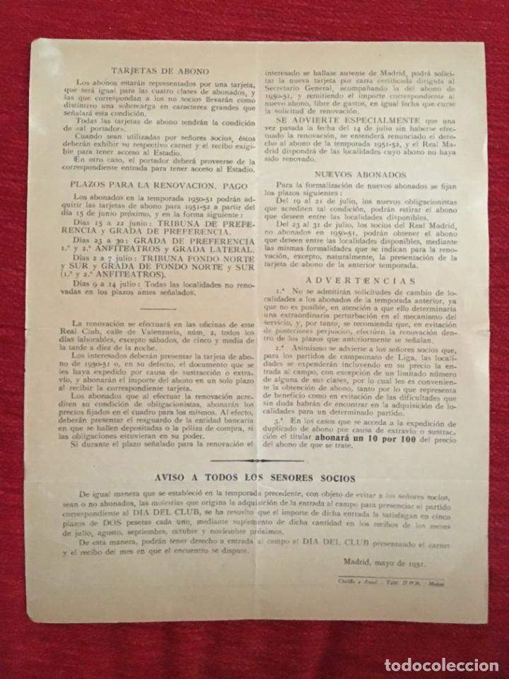 Coleccionismo deportivo: R10915 DOCUMENTO HOJA INFORMATIVA OFICIAL REAL MADRID SOCIOS ABONO TEMPORADA 1951 1952 - Foto 2 - 226118828