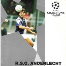 Colecionismo desportivo: PROGRAMA RSC. ANDERLECHT-MILAN AC. CHAMPIONS LEAGUE. 24 DE NOVIEMBRE DE 1993. Lote 227444404