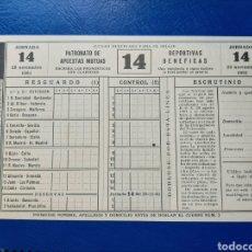 Colecionismo desportivo: ANTIGUO BOLETO DE QUINIELAS AÑO 1961.. Lote 227486407