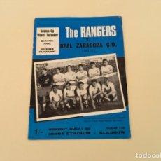 Coleccionismo deportivo: PROGRAMA EUROPA FÚTBOL REAL ZARAGOZA THE RANGERS 1967. Lote 235626605