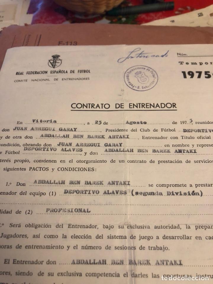 Coleccionismo deportivo: Contrato original de ben barek entrenador del alaves - Foto 2 - 236617100