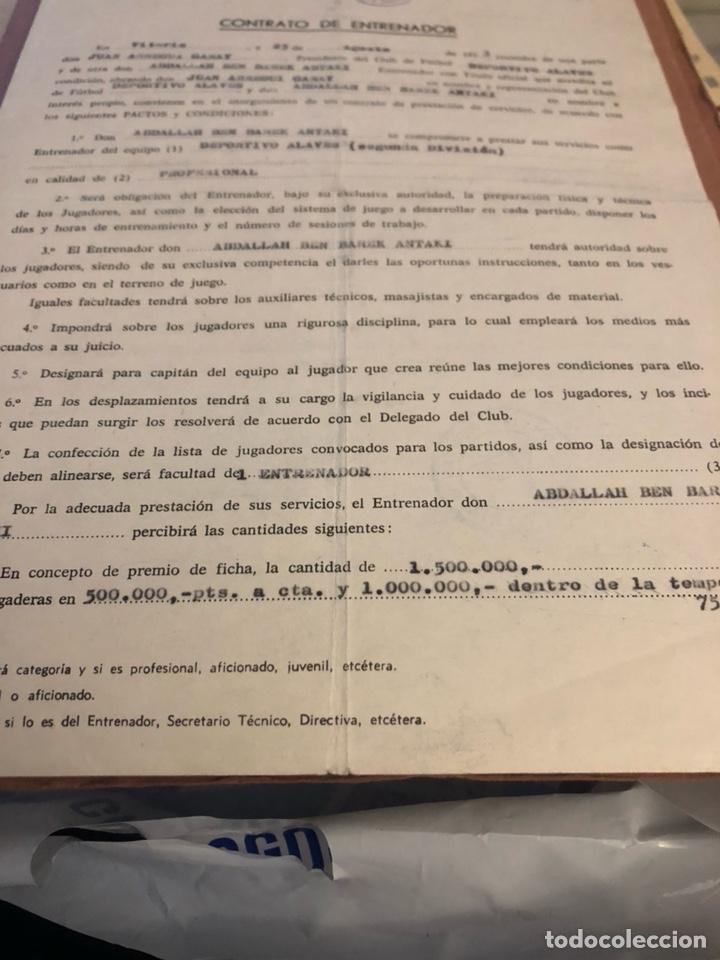 Coleccionismo deportivo: Contrato original de ben barek entrenador del alaves - Foto 3 - 236617100