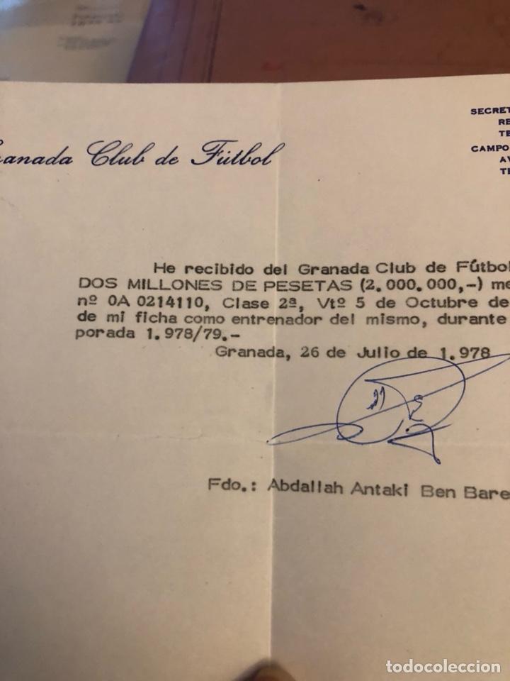 Coleccionismo deportivo: Antiguo recibí de 2 millones de pesetas, Granada, entrenador ben barek - Foto 2 - 236618820