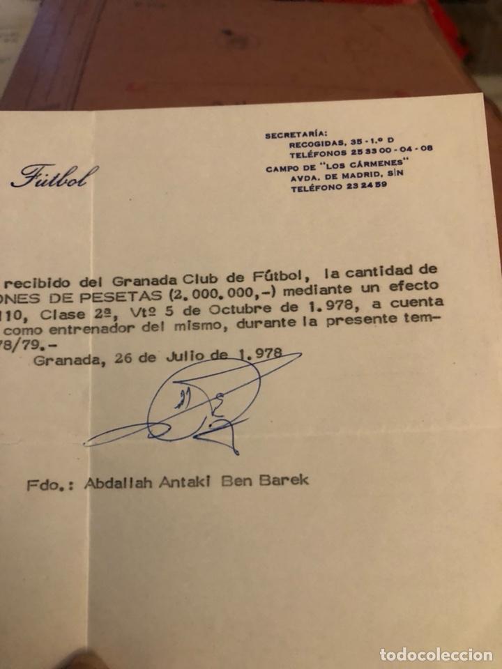 Coleccionismo deportivo: Antiguo recibí de 2 millones de pesetas, Granada, entrenador ben barek - Foto 3 - 236618820