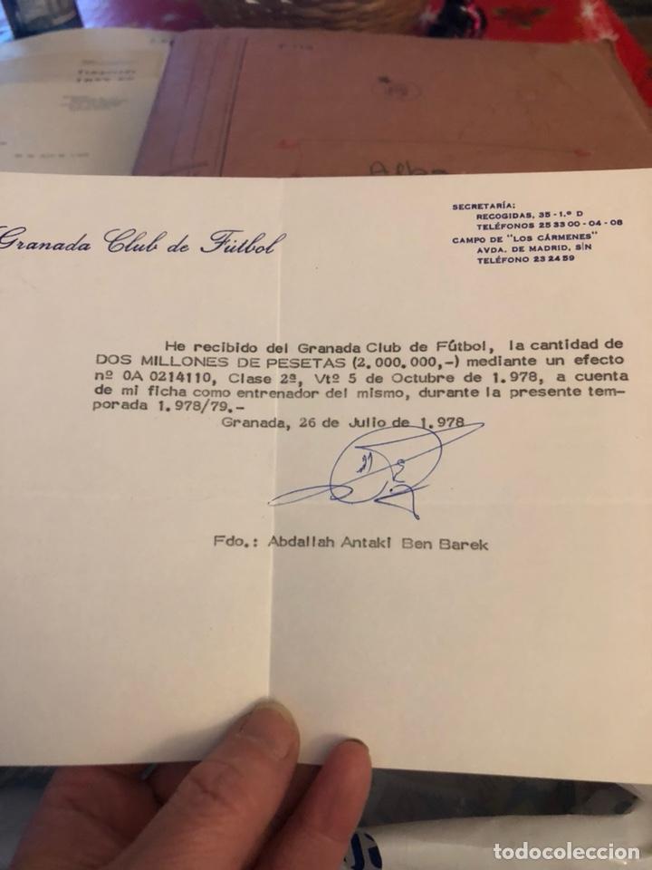 ANTIGUO RECIBÍ DE 2 MILLONES DE PESETAS, GRANADA, ENTRENADOR BEN BAREK (Coleccionismo Deportivo - Documentos de Deportes - Otros)