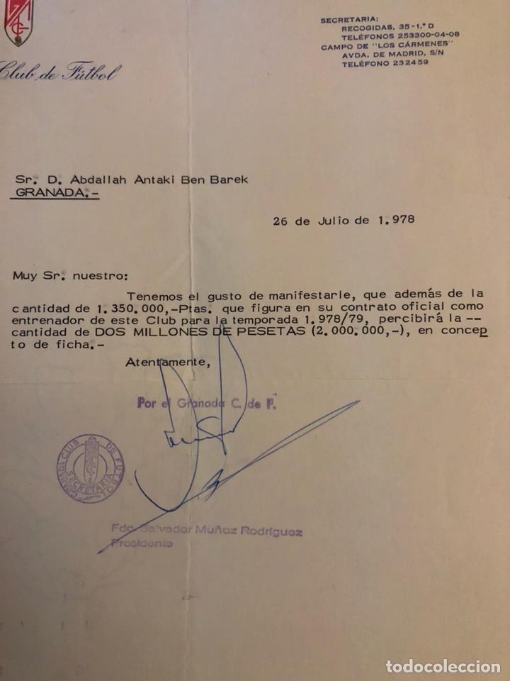 Coleccionismo deportivo: Documento original de la ficha de ben barek, entrenador del granada - Foto 2 - 236619170