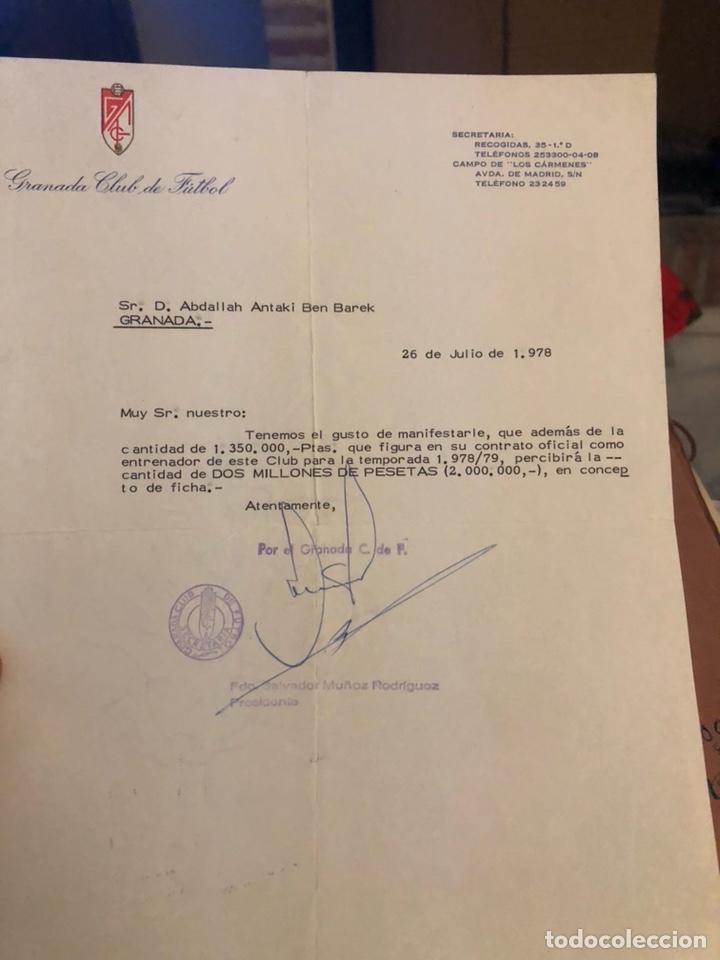 DOCUMENTO ORIGINAL DE LA FICHA DE BEN BAREK, ENTRENADOR DEL GRANADA (Coleccionismo Deportivo - Documentos de Deportes - Otros)