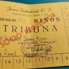 Coleccionismo deportivo: CARNET DE SOCIO DEL JEREZ INDUSTRIAL ,C.F. TEMPORADA 1974-75. Lote 239719945