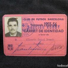 Coleccionismo deportivo: FC BARCELONA-SECCION RUGBY-CARNET IDENTIDAD JUGADOR-AÑO 1955 1956-VER FOTOS-(77.538). Lote 240926770